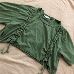 green crop top american eagle don't ask why os